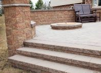 Paver patio with fire pit and steps