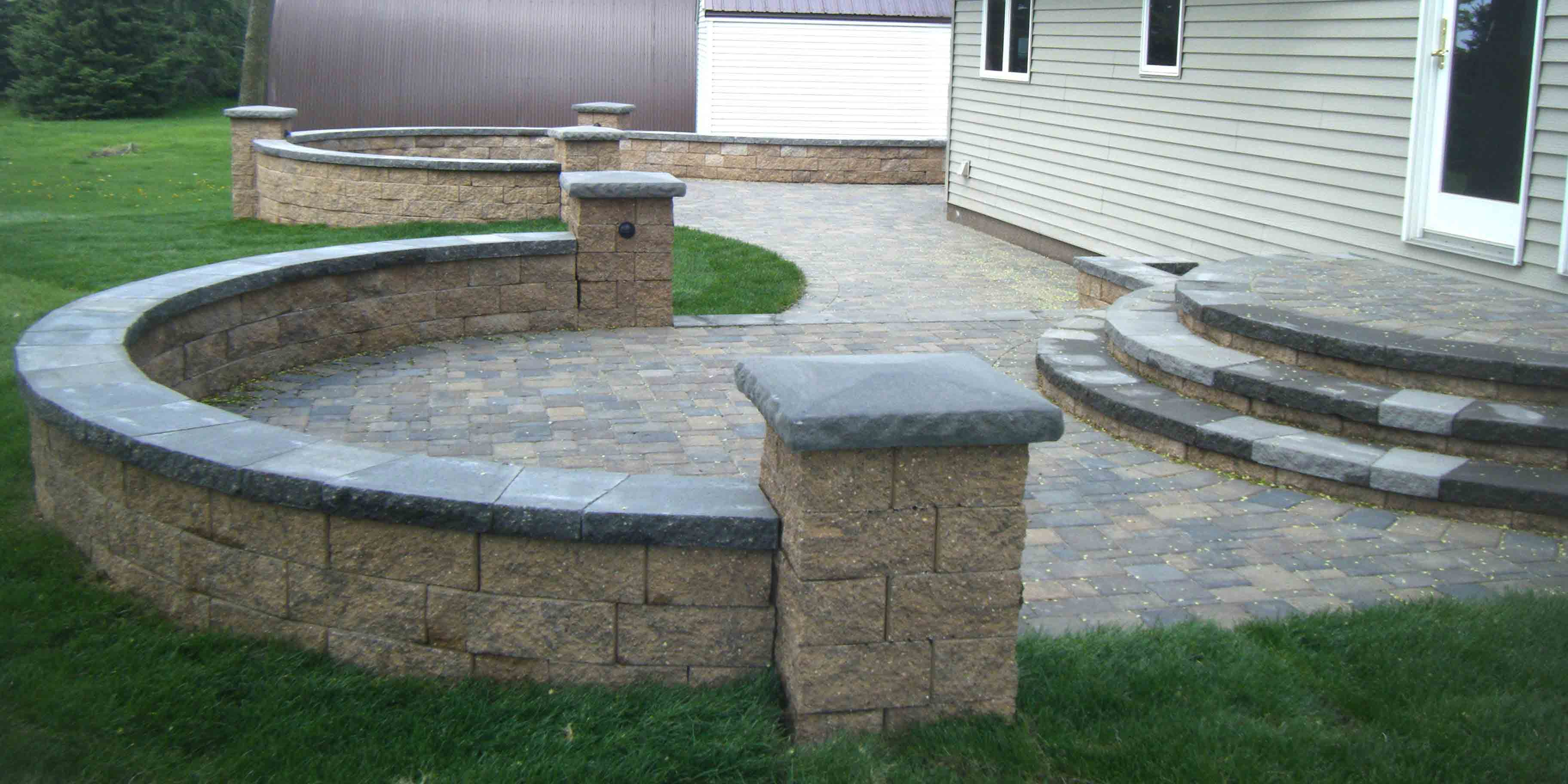 paver patio steps leading edge landscapes. Black Bedroom Furniture Sets. Home Design Ideas